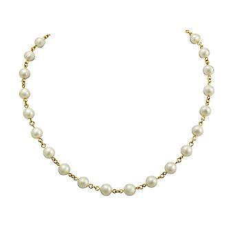 Ewige Sammlung Perdita White österreichischen Glas Perle Gold Link Halskette