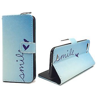 Sac de cas mobile pour téléphone mobile ZTE blade V6 lettrage sourire Blau
