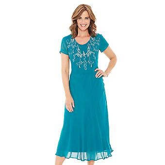 Ladies Womens Embroidered Dress