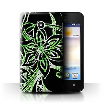 STUFF4 Case/Cover for Huawei Ascend Y330/Green/White/Henna Paisley Flower