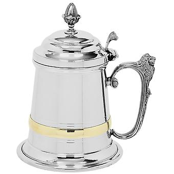 Churchill Brass Band Lion Handle Extra Heavy Pewter Tankard with Lid - 1 Pint +