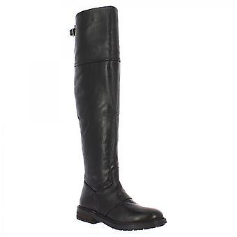 Leonardo Sko Dame's håndlagde knehøye støvler svart kalv skinn og side glidelås