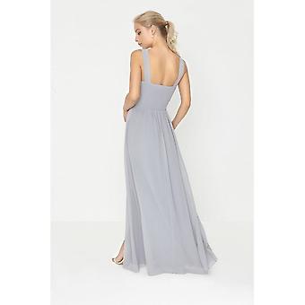 Little Mistress Womens/Ladies Grey Pearl Lace Maxi Dress