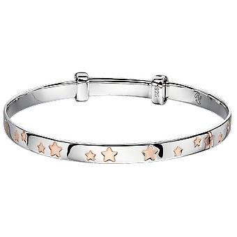 Little Star Jessica Silver & Rose Gold Star Baby Bangle