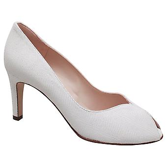 Peter Kaiser Sanna White Lizard Effect Peep Toe High Heel Court Shoe