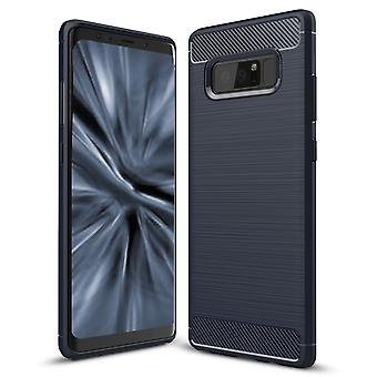 Shell for Samsung Galaxy Note 8 Case Protection Armor Carbon Fiber Dark Blue