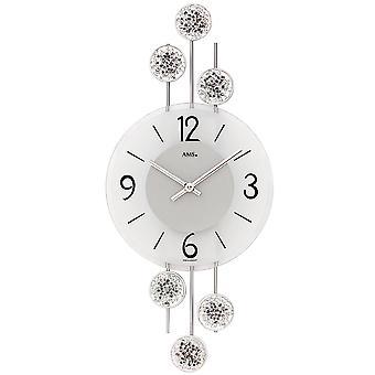 Wall clock kvartsista analoginen hopea moderni AMS 9440 metalli ja lasi