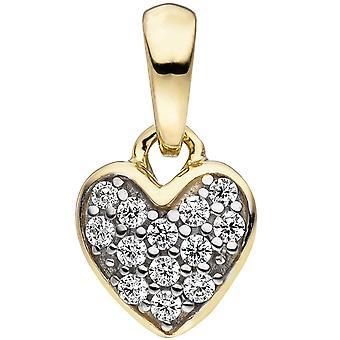 قلادة القلب 375 الذهب الأصفر الذهب ذو لونين 13 زركونيا مكعب الطفل مقطورة للأطفال