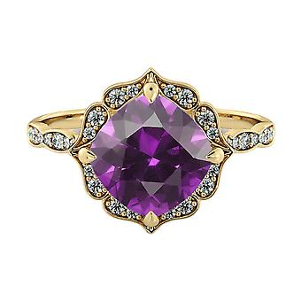 1.25 ctw Amethyst Ring with Diamonds 14K Yellow Gold Flower Leaves Halo