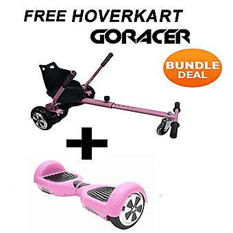 Pink GoRacer Hoverkart with 6.5 Classic Pink Bluetooth Hoverboard Segboard , Segway