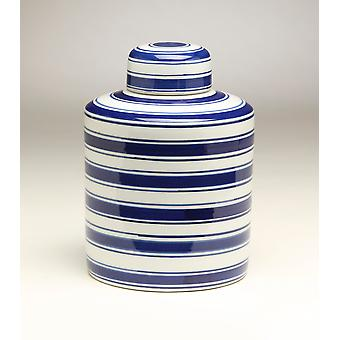 AA Importing 59954 8 Inch Cylinder Blue & White Ginger Jar