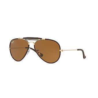راي بان الحرفية الطيار RB3422Q 9041 الجلود براون / براون النظارات الشمسية