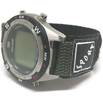 Klittenband horlogeband groen met roestvrijstalen ring en sportbadge 14mm tot 20mm