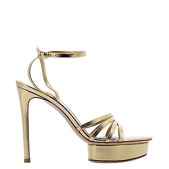 Gianvito Rossi G3185685ricnpsmekonk Women's Gold Leather Sandals