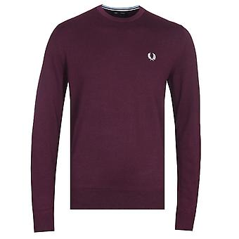 Fred Perry Classic Crew Neck Burgundy Sweater