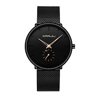 CRRJU Quartz Watch - Anologue Luxury Movement for Men and Women - Black-Gold