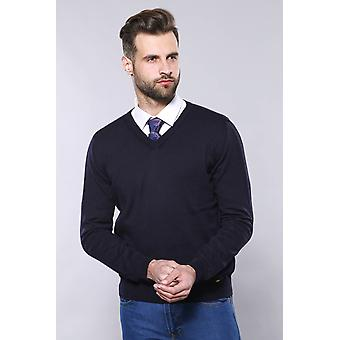 V neck navy sweater | wessi