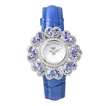 EON Swiss Movement Tanzanite,Cambodian Zircon, Diamond Watch in Steel and Silver