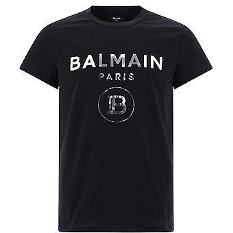 Balmain Uh01601i3400pa Mænd's Black Cotton T-shirt