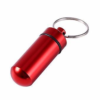 Aluminium Mini Medicine Pill Case Porte-clés Suspendu Bouteille Rouge