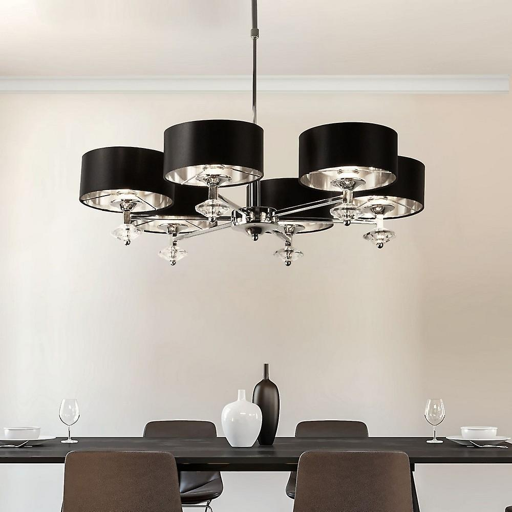 6 Light Chrome Ceiling Pendant with Black Shades, Silver Inner