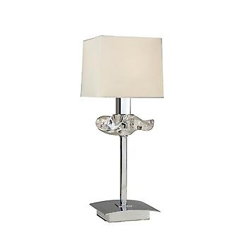 Lâmpada de mesa 1 Luz E14, Cromo Polido com Sombra creme