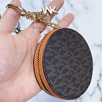 Michael kors jet set round coin pouch wallet key ring brown mk tangerine orange