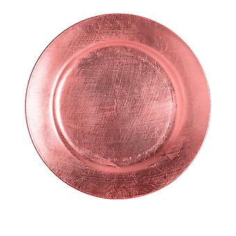 Argon Tableware Single Round Charger Plate - Brushed Metallic Finish - 33cm - Rose Gold