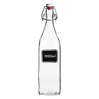 Bormioli Rocco Lavagna Glass Swing Top Bottle with Chalkboard Label - For Preserving, Home Brew - 1L