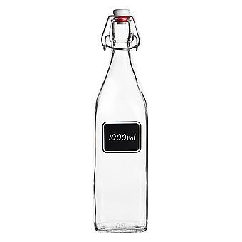 Bormioli Rocco Lavagna Glas Swing Top Flaske med tavle Label - Til konservering, Home Brew - 1L