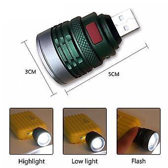 New Usb Handy Powerful Led,  Flashlight Portable Mini Zoomable- With 3 Modes