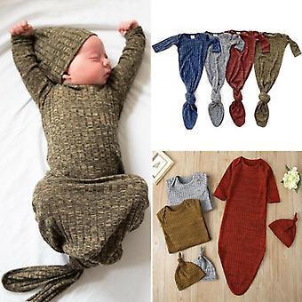תינוק תינוק תינוק מוצק סרוג סריגה לעטוף שמיכה שק שינה כובע