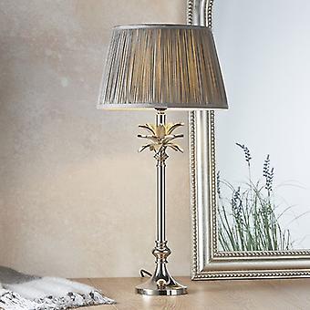 Endon Lighting Leaf & Freya - Tafellamp gepolijste nikkelplaat en houtskoolgrijze zijde 1 Licht IP20 - E27