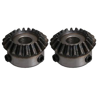2PCS 8mm Bore 20T Steel 1.25 Module M5 Screw Tapered Bevel Gear Wheel