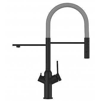 3 Way Blackchrome Kitchen Filter Sink Mixer Grey Movable Spout And 2 Jet Spray, Works With All Water Filter System - 600