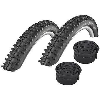 "Velo.Set 2 x Schwalbe Smart Sam Plus Tires = 54-559 (26×2.1"") + Hoses"