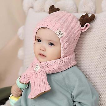 Kids Beanie Little Deer Knit Hats Winter Fur Winter Scarf