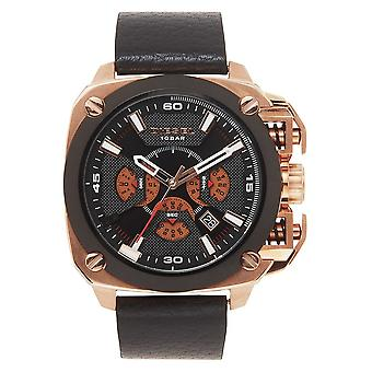Diesel Dz7346 Bamf Black Leather And Rose Gold Stainless Steel Watch