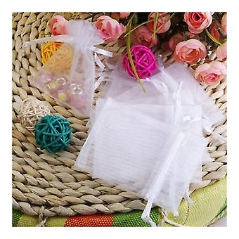 100 White Pockets / Organza Bags For Jewellery Gifts