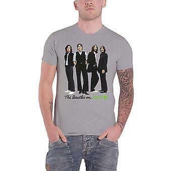 Beatles T skjorte på Apple ikoniske bildet bandet Logo offisielle Mens Grey