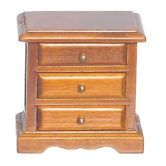 Nuket Talo Walnut Bedside 3 Laatikko Rinta Yöpöydän Miniatyyri Makuuhuone Huonekalut