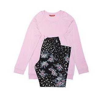 Minijammies Hannah 5684 Girl's Black Floral Modal Pyjama Set