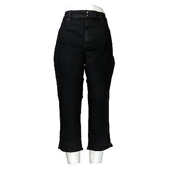 NYDJ Women's Jeans Cool Embrace Skinny Crop with Side Slits Black A377694