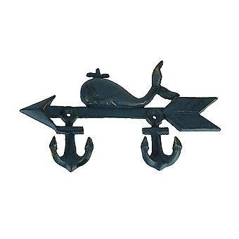 Whale and Arrow Cast Iron Ship Anchor Wall Hook Rack