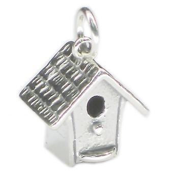 Bird Box Sterling Silver Charm .925 X 1 Birds Birdhouse Birdbox Charms - 3459