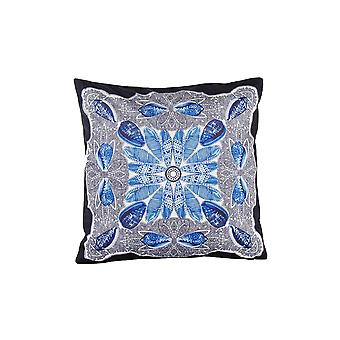 Square Fabric Pillow With Floral Pattern, Blue And Gray