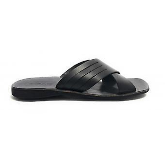Men's Shoes Elite Slipper Black Leather Bands Bottom Tread Us17el18