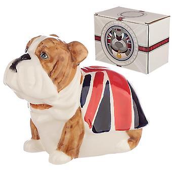 Fun nouveauté céramique boîte d'argent bouledogue britannique