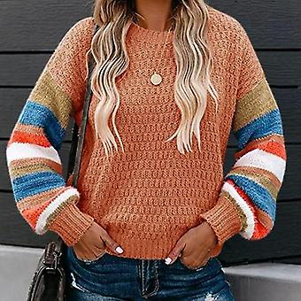 Long Sleeve Patchwork Striped Knitted Sweater