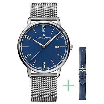 Maurice Lacroix Eliros 25th Anniversary 40mm Date Strap Set Blue EL1118-SS00E-420-C Watch